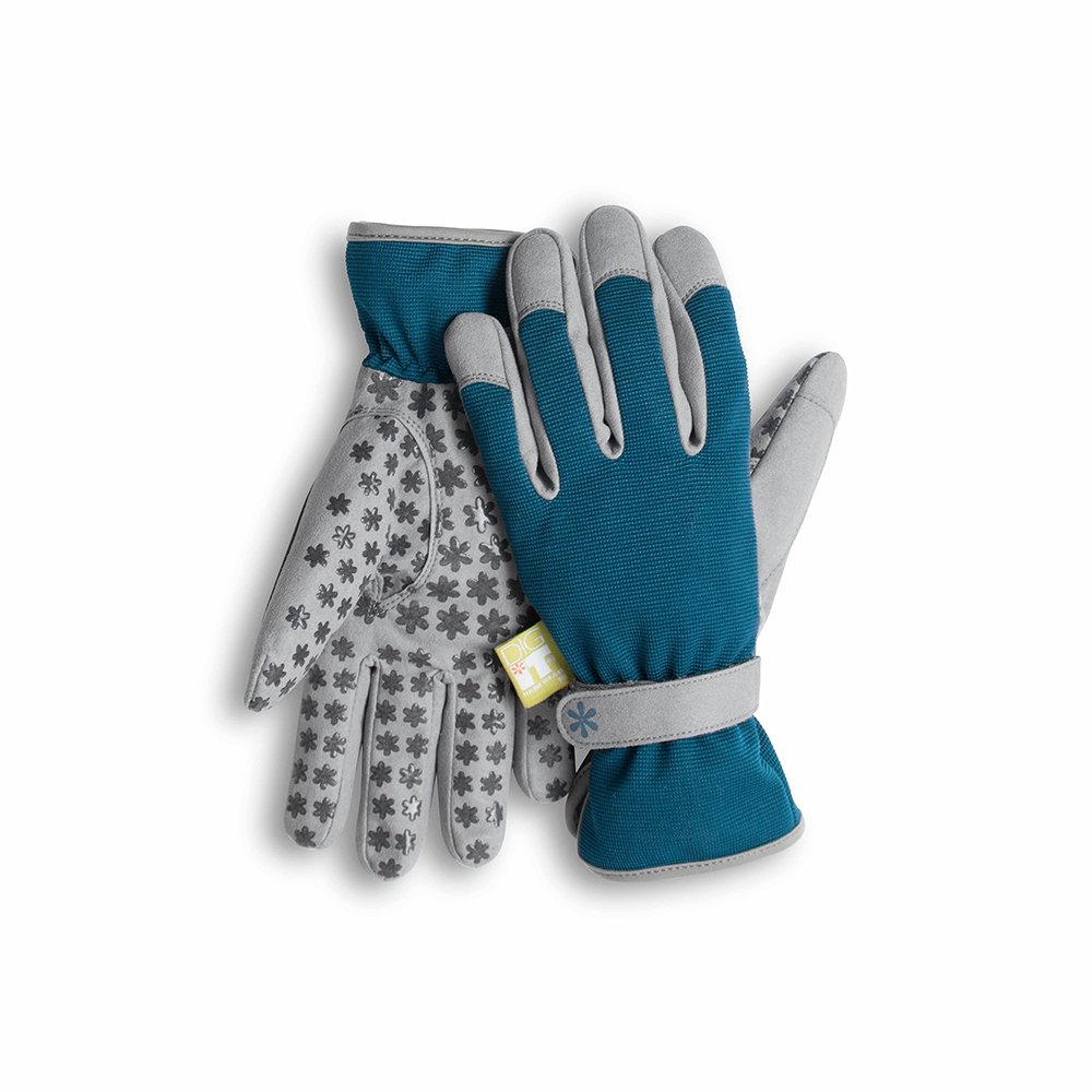 Dig It Handwear Innovative Womens Utility Garden Gloves with Nail Protection, Water Resistance, Improved Dexterity, Durable Reinforced Fingers, Grey/Blue, Small/Medium