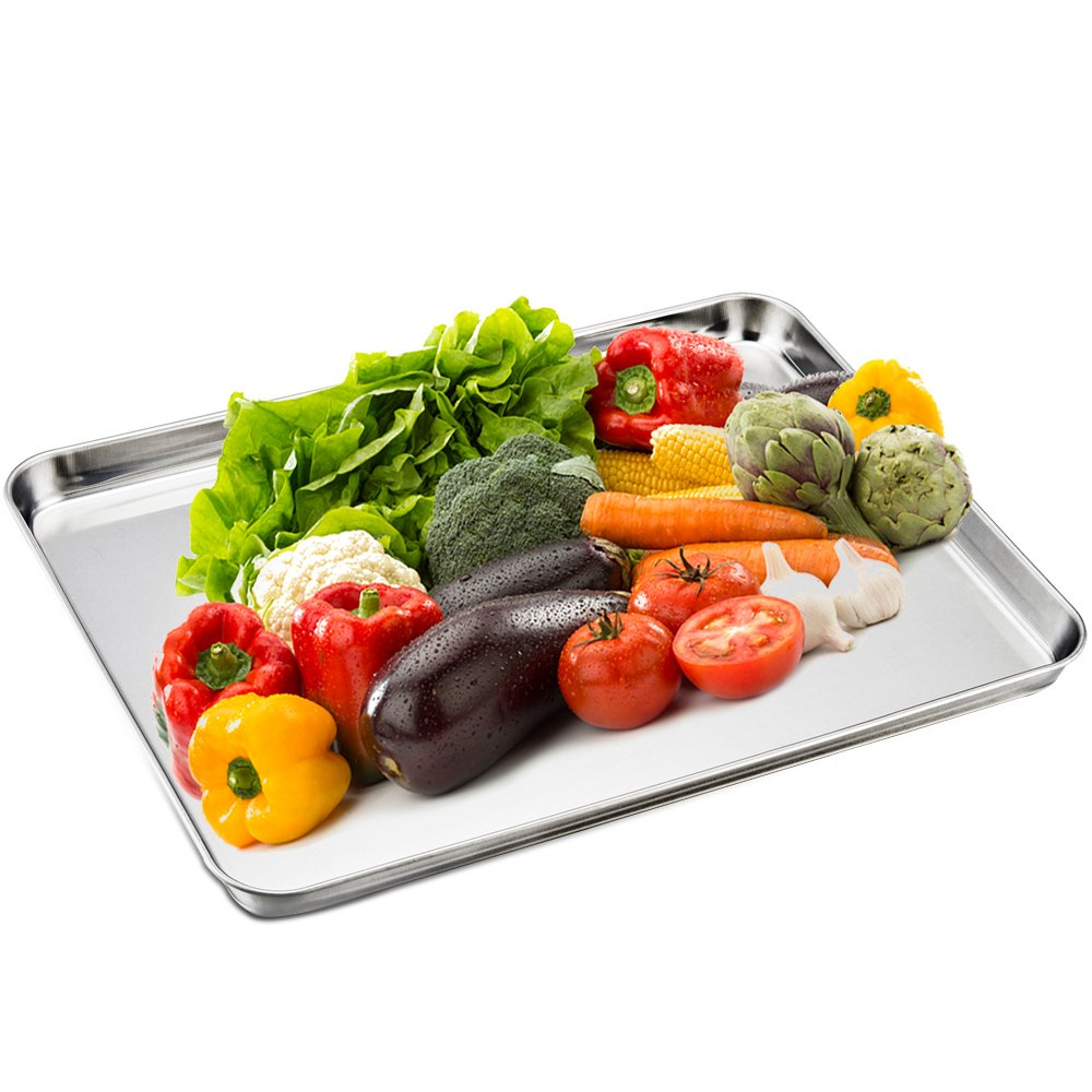TeamFar Stainless Steel Compact Toaster Oven Pan Tray Ovenware Professional, 8''x10''x1'', Heavy Duty & Healthy, Deep Edge, Superior Mirror Finish, Dishwasher Safe by TeamFar (Image #6)