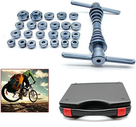 Juego de herramientas de montaje para buje de cojinetes,cojinetes de rodamiento de bicicleta,buje interior de bicicleta y cojinete de eje BB,,soporte de montaje de bicicleta con caja: Amazon.es: Deportes y aire libre