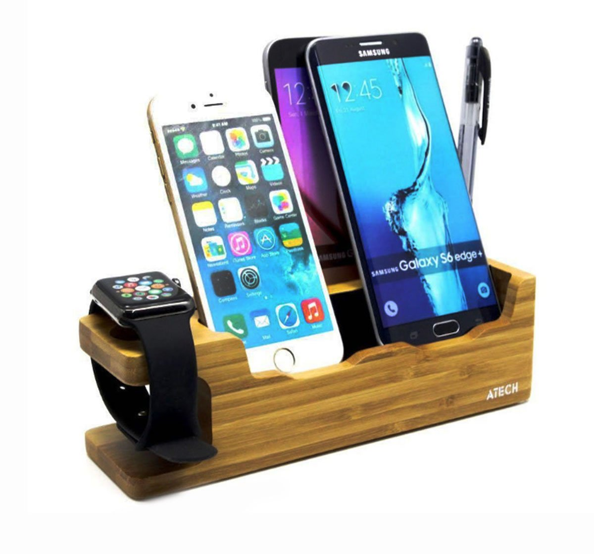 Bamboo Charging Station, Apple Watch Stand Smartphone Holder Apple Pencil Holder, Desktop Docking Charger Station, Multi-Device Organizer for Apple iWatch, iPhones, Samsung Galaxy Android Smartphones