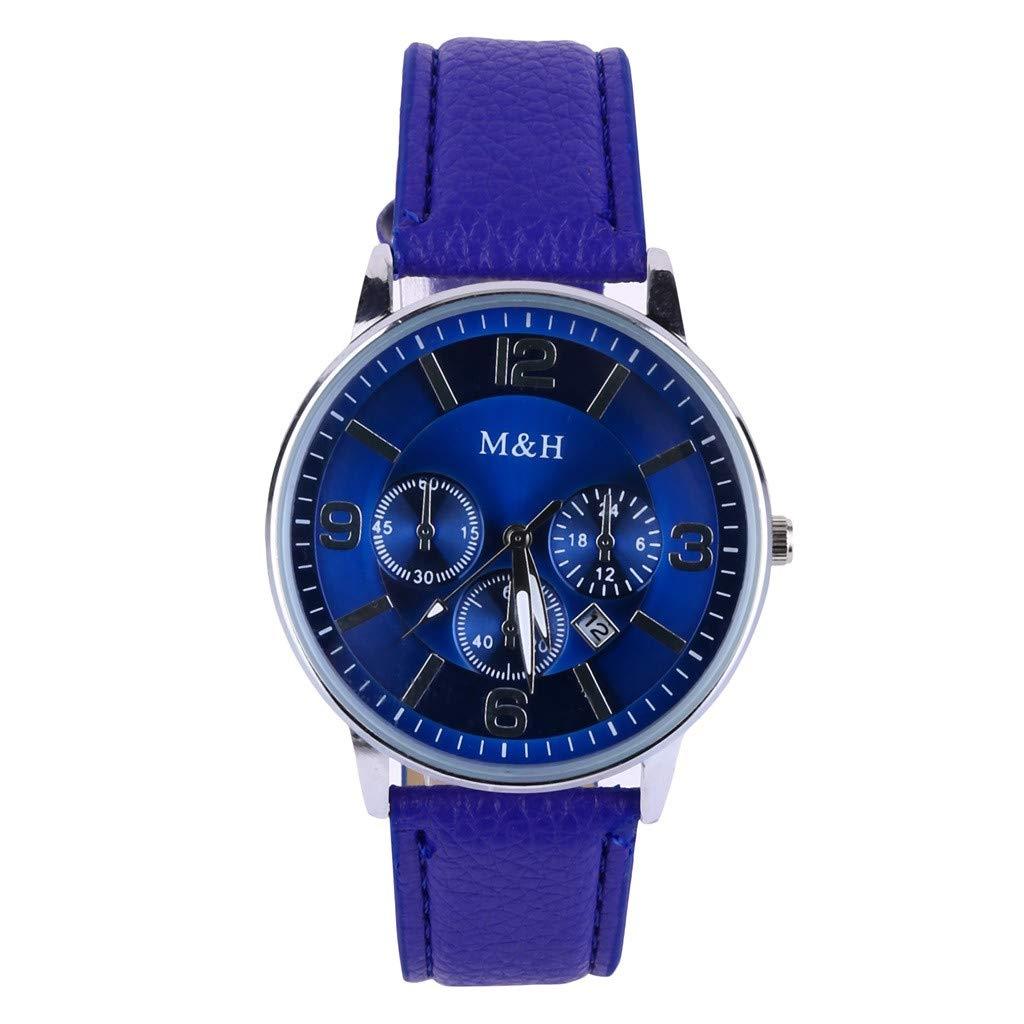 XBKPLO Mens Quartz Watch,Numeral Business Fashion Blue Analog Wrist Watches Automatic Date Leather Strap