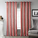 MICHELE HOME FASHION (Set of 2 panels) 25 2(100″ W x 108″ L) Grommet Top Print Repetitive Chinese Red Geometric Patterns Blackout Lining Window Treatment Draperies & Curtains Panels Review