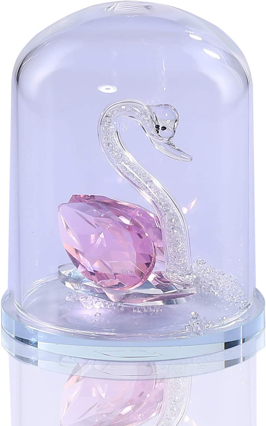 PJCSEC Pink Crystal Swan Figurine Collection Statue with Glass Cover Home Office Decor Cute Table Centerpiece Glass Ornament Crystal Gift