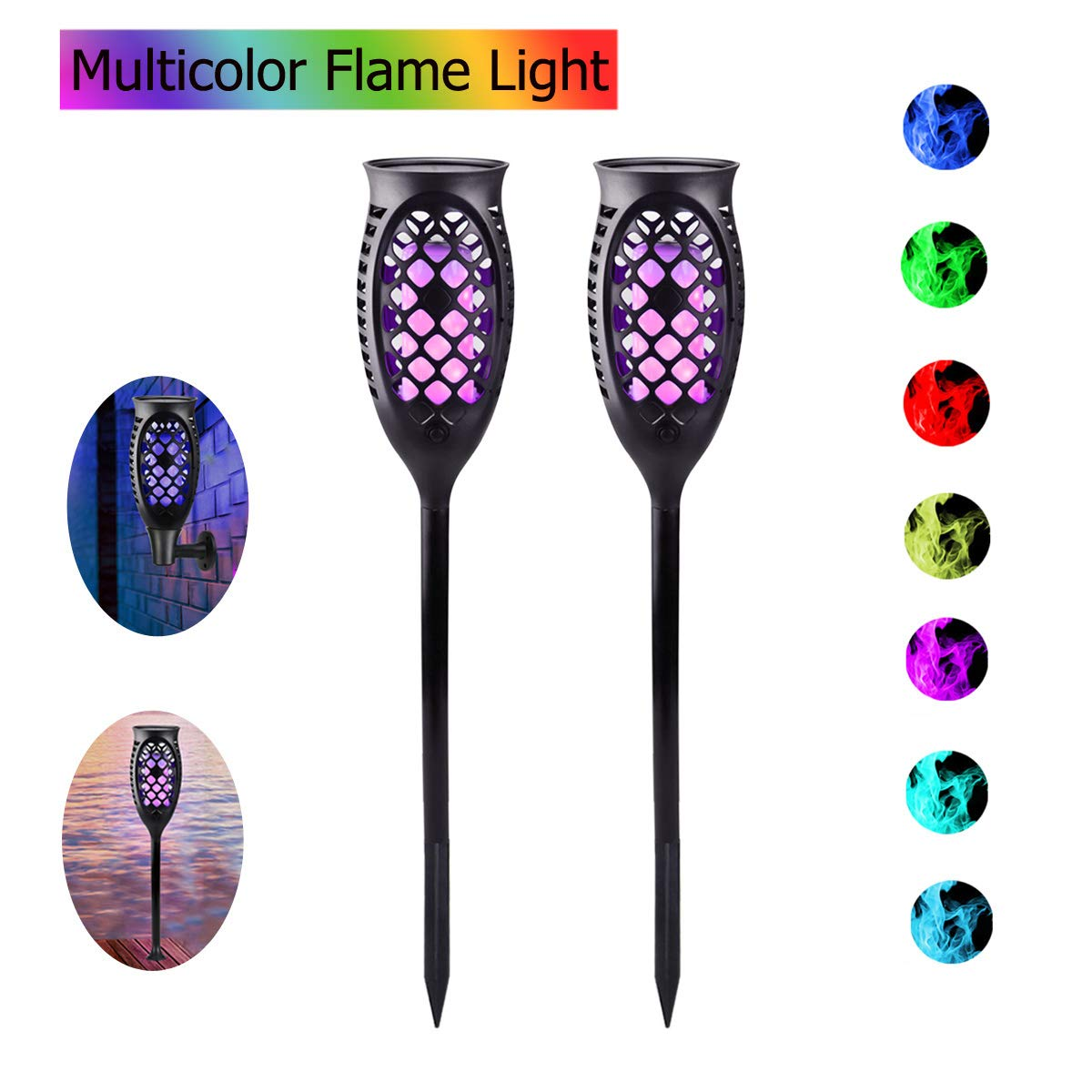 Outdoor Solar Garden Lights, Waterproof Multi-color Flame Flickering Torch Light with 3 Installation Ways Dusk to Dawn Landscape Lantern for Yard Wall Patio Garden (Fixed Color & Changing Color)-2