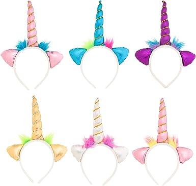 Boys 6 Pack Unicorn Party Supplies Unicorn Gifts Generic BO8116 Birthday Assorted Color Soft Unicorn Headband Set For Unicorn Costume For Girls