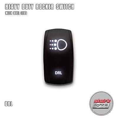 DAYTIME RUNNING LIGHTS DRL - White - STARK 5-PIN Laser Etched LED Rocker Switch Dual Light - 20A 12V ON/OFF: Automotive