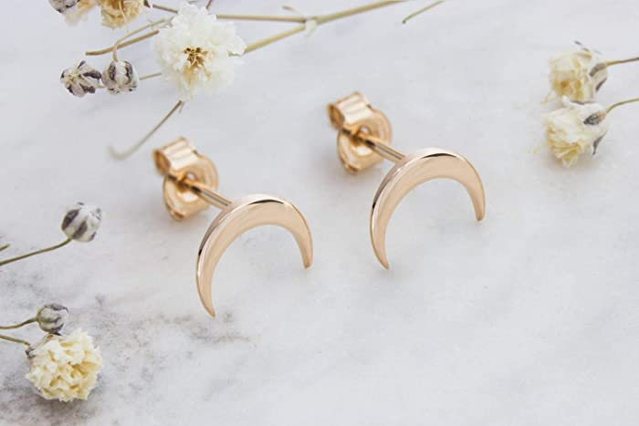 359e8bab3 Tiny Double Horn Earrings, 9K, 14K, 18K Gold Earrings, Rose Gold, Gold  Crescent Horn Studs, Solid Gold Earrings, Crescent Moon Studs, ...