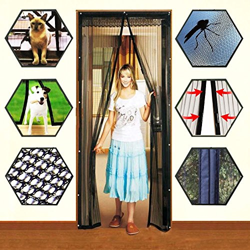 Hands Free Mesh Screen Net Door with Magnets Anti Mosquito Bug Magic Curtain Mesh Keep The Bug Insect and Fly Out fit up to 38