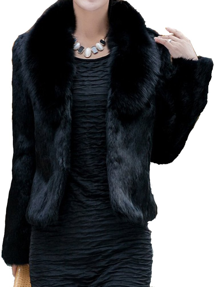 Helan Women's Short Slim Faux Fox Collar and Faux Rabbit Fur Coat Black US 10