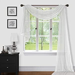 """Sapphire Home 1pc Window Sheer Voile Scarf Valance, Decorative Sheer Valance for Window Home Decor, Solid Color, Valance (54""""x216"""") White"""