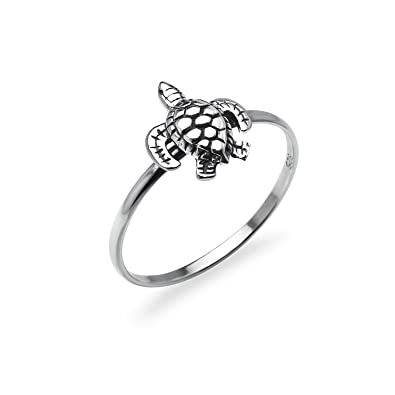 Amazon Com Turtle Tortoise Sterling Silver Band Ring Animal Charm