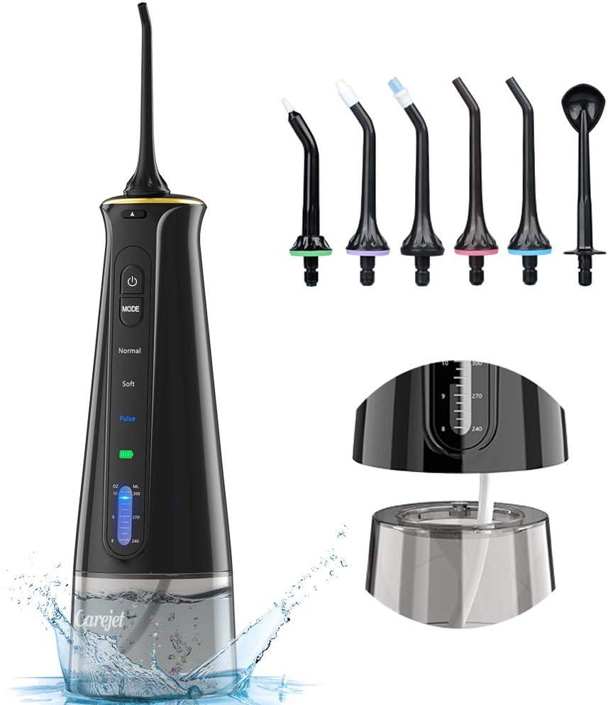 Carejet Irrigador Bucal Portátil Profesional - Irrigador Dental de 300ml con 3 Modos, 6 Boquillas Multifuncionales IPX7 USB Recargable, Viaje y el Uso diario