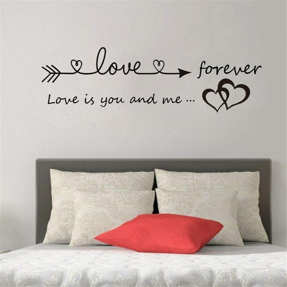 Quaanti Love is You and Me Words Love Heart Home Bedroom Decor Wall Sticker Friend Student Gifts School Office Mural (Black)