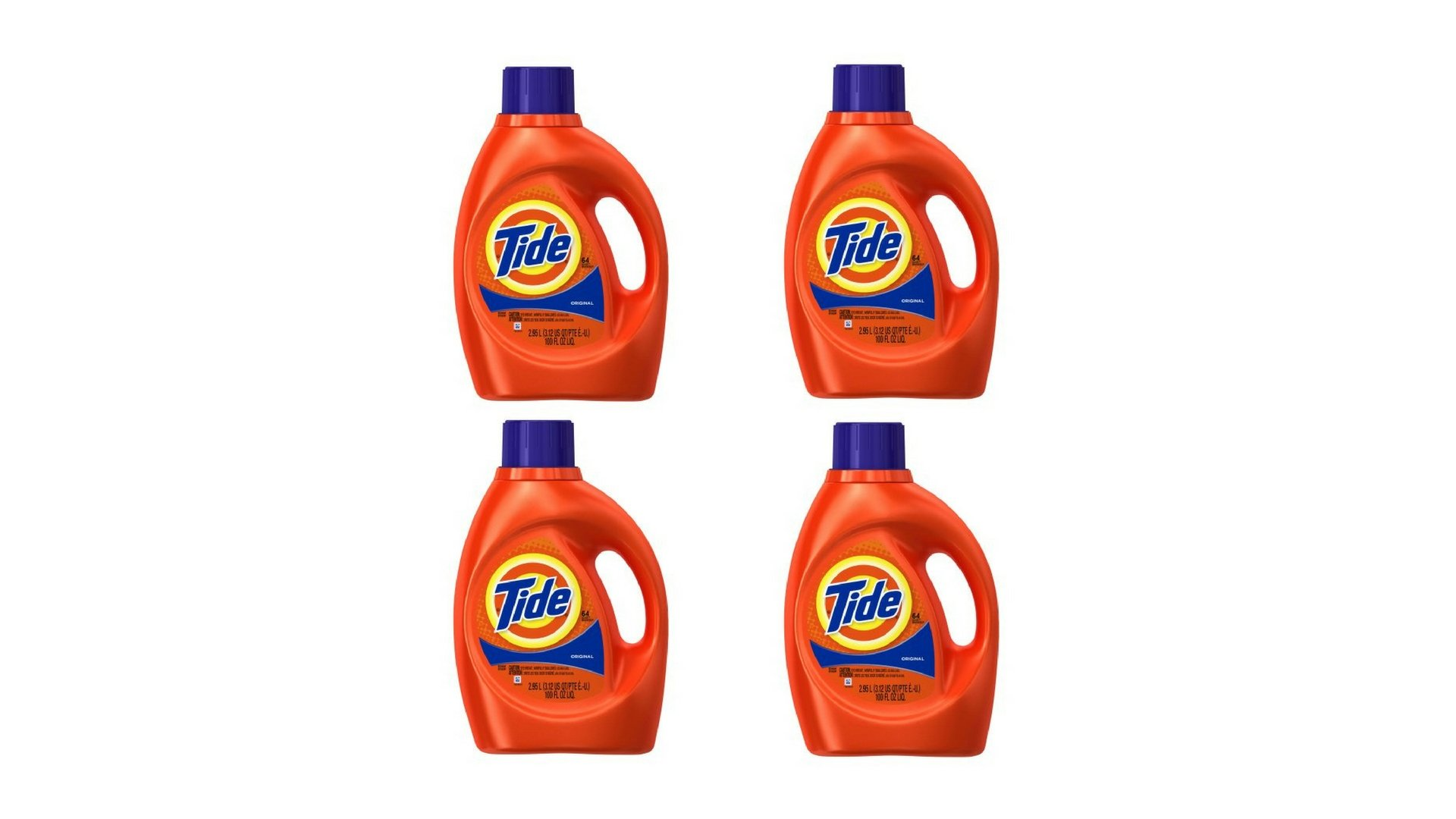 Original Scent Tide Liquid Laundry Detergent 100 fl oz per bottle set of 4