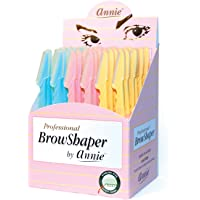 Annie - Professional BrowShaper - (36) Pack - Blue/Pink/Yellow - Stainless Steel - Safety Cover - Professional Shaping…