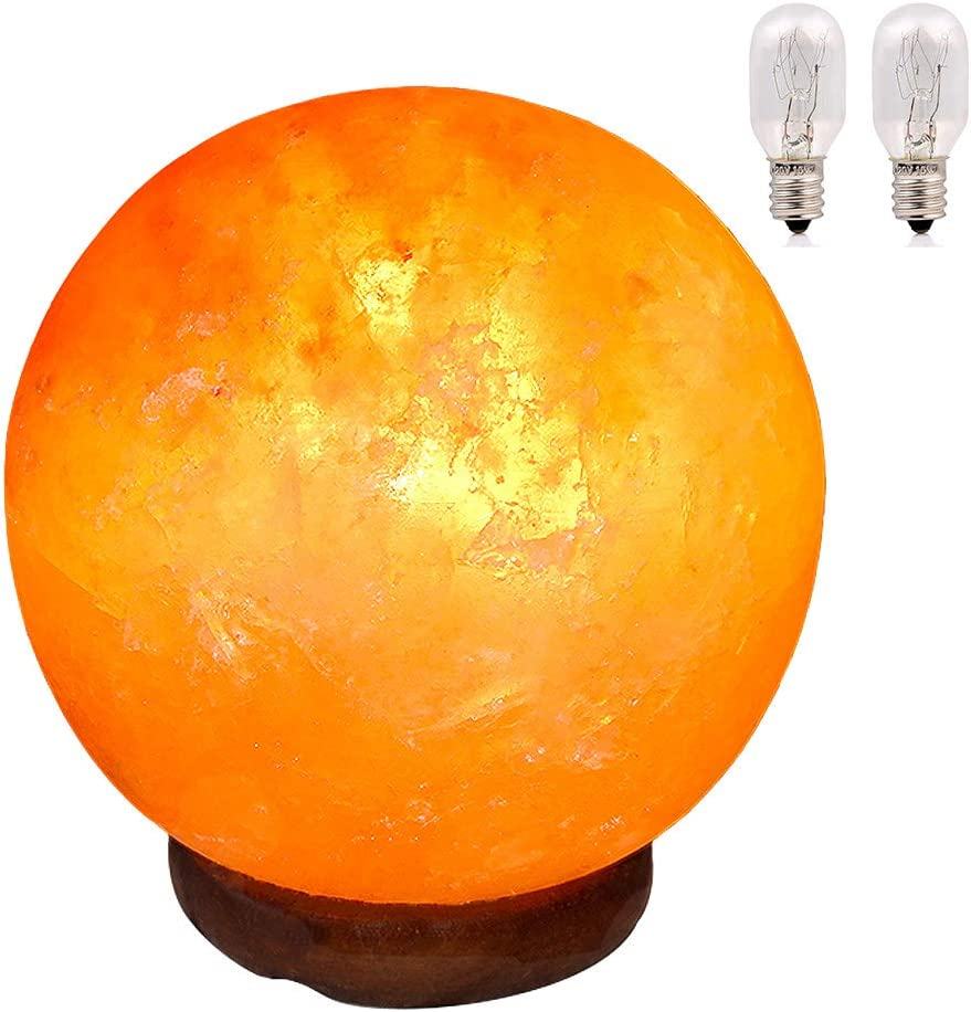 pursalt Himalayan Salt Lamp Night Light Large Size 6 inches 15cm Hand Carved Taly Wood Base Pink Crystal Rock Salt Lamp for Christmas Gifts, Home Décor, Table Lamp, Extra 2 Replacement Bulbs, Globe