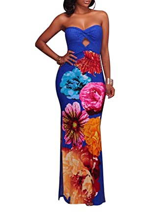250ef3aa55 Women s Floral Off The Shoulder Bodycon Tube Top Maxi Long Dress Plus Size  at Amazon Women s Clothing store
