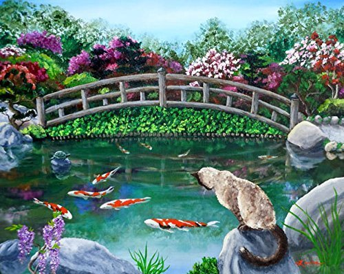 balinese cat japanese garden koi fish pond bridge iverson original painting - Japanese Koi Garden