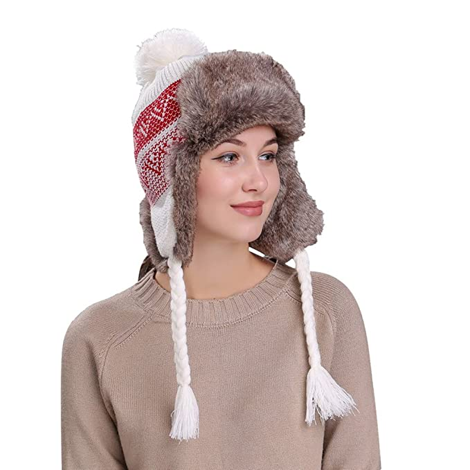 2019 Nuovo Le Donne Moda dell Inverno al Caldo Cappello con Risvolti  paraorecchie per Sciare ebdfc7f5fd30