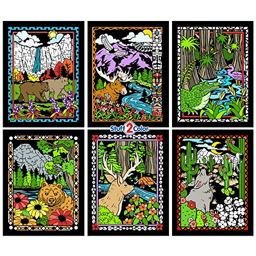 National Parks Fuzzy Coloring Poster 6 Pack (Great for Kids, Adults, Group Activities and More) - Arrives Uncolored -