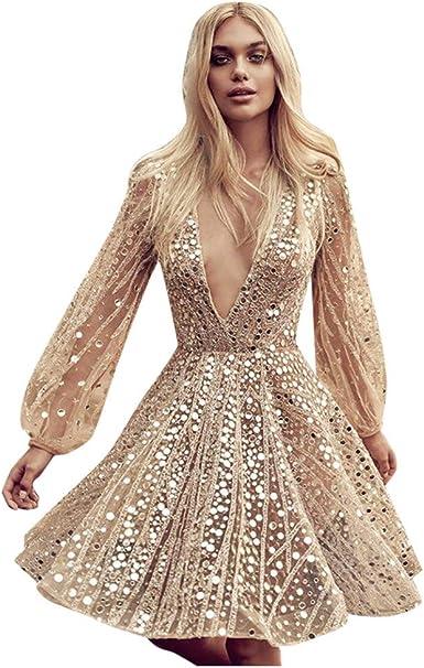 Donna Abito Manica Lunga Casual Paillettes Lunghi Vestito Cerimonia Estivi Eleganti Abiti V Scollo Mini Vestiti Moda Profonda Vestito
