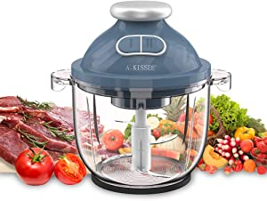 Electric Food Chopper,A-KISSEE 2.3L Food Processor 300W Meat Grinder with 8-Cup Glass Bowl for Meat,Vegetables,Fruits and Nuts,Fast & Slow 2 Speeds,4 Sharp Blades,BPA-Free (blue)
