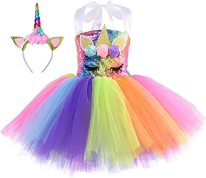 Cuteshower Girl Unicorn Costume, Baby Unicorn Tutu Dress Outfit Princess Party Costumes with Headband and Wings