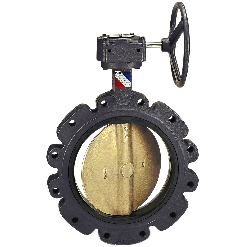 NIBCO LD-1100-5 Series Ductile Iron Butterfly Valve with Buna-N Liner and Aluminum Bronze Disc Gear Operator 18 Lug