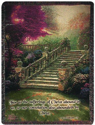 Manual Thomas Kinkade 50 x 60-Inch Tapestry Throw with Verse, Stairway to Paradise