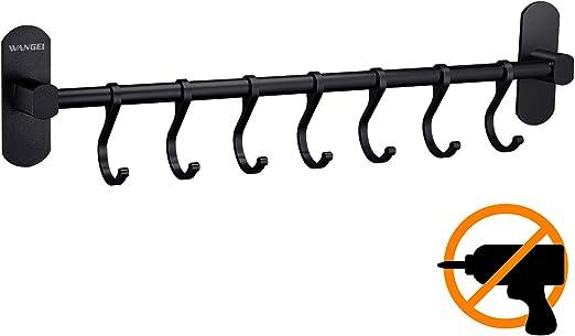 Patentierter Kleber Matte Finish Aluminium Wangel Hakenleiste K/üchenhelfer H/ängeleiste 7 Haken ohne Bohren Selbstklebender Kleber