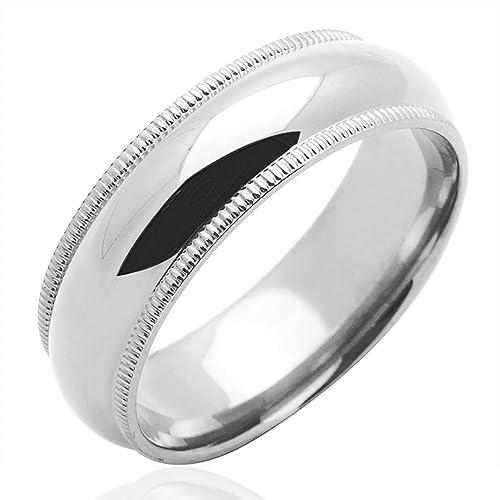 Pequeños Tesoros - Anillo de mujer - de oro blanco (14k) Anillo De Matrimonio 6MM Milgrain: Amazon.es: Joyería