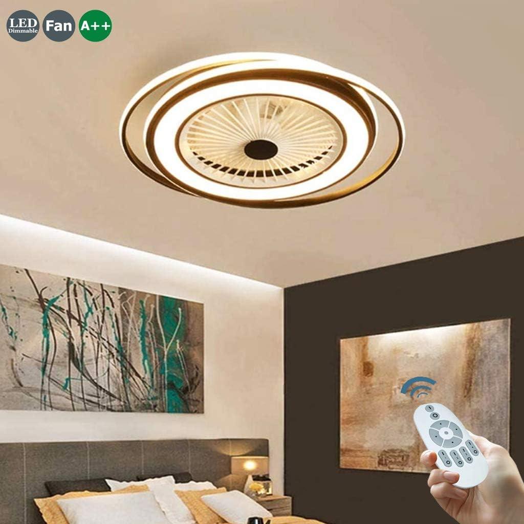 Ventilador De Techo 50W LED Ventilador Invisible Ventilador Ajustable Con Iluminación De Dormitorio Lámpara De Sala De Estar Regulable Control Lámpara De Techo Remoto Bajo Ruido Luz De Techo