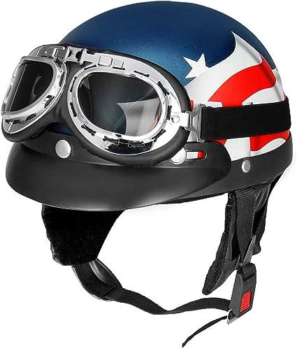 YONGYAO Bandera USA Retro Moto Media Cara Casco Biker Scooter con ...