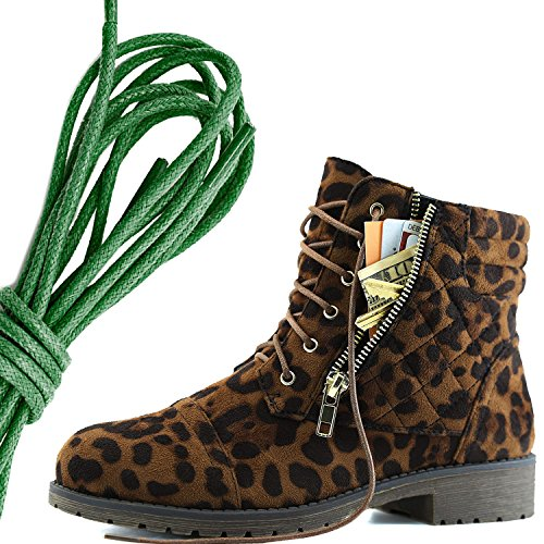 DailyShoes Womens Military Lace Up Buckle Combat Boots Ankle High Exclusive Credit Card Pocket, Dark Green Wild Leopard