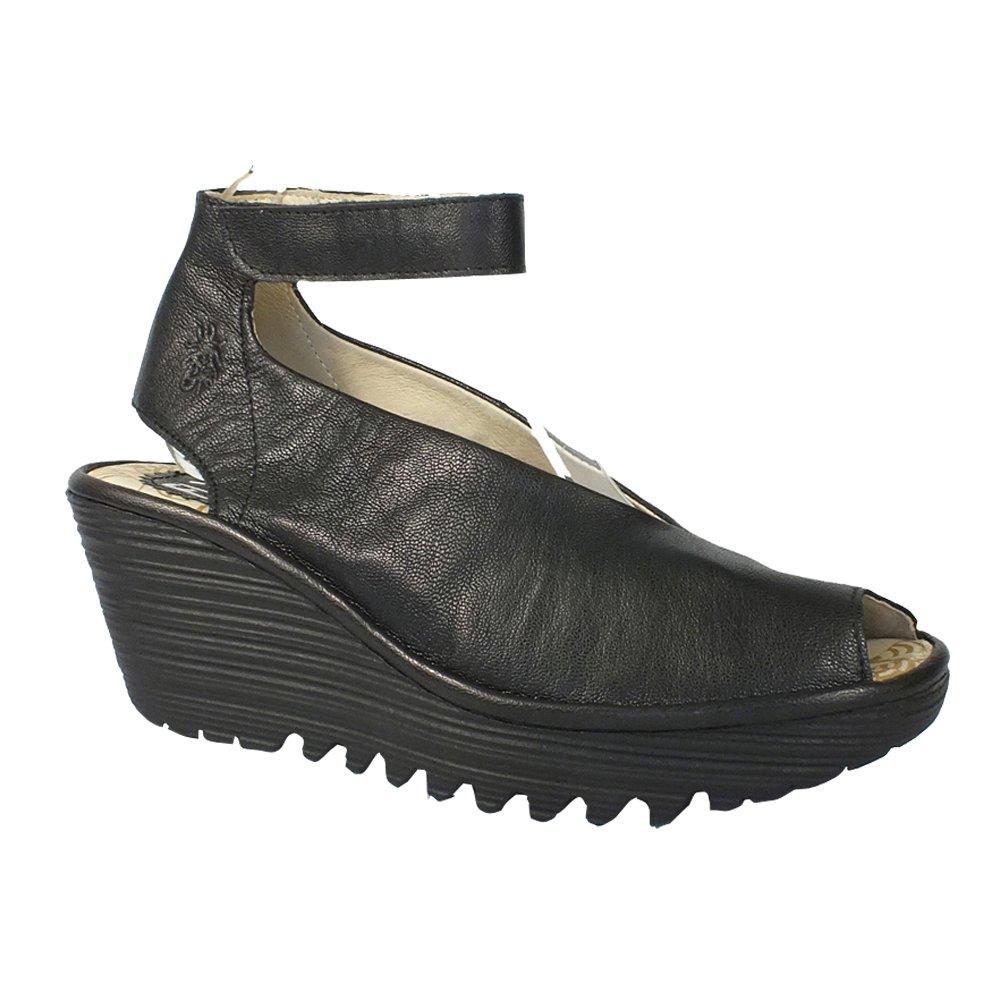 FLY London Women's Yala Wedge Sandals B073PJ6QFL 38 M EU / 7.5-8 B(M) US|Black