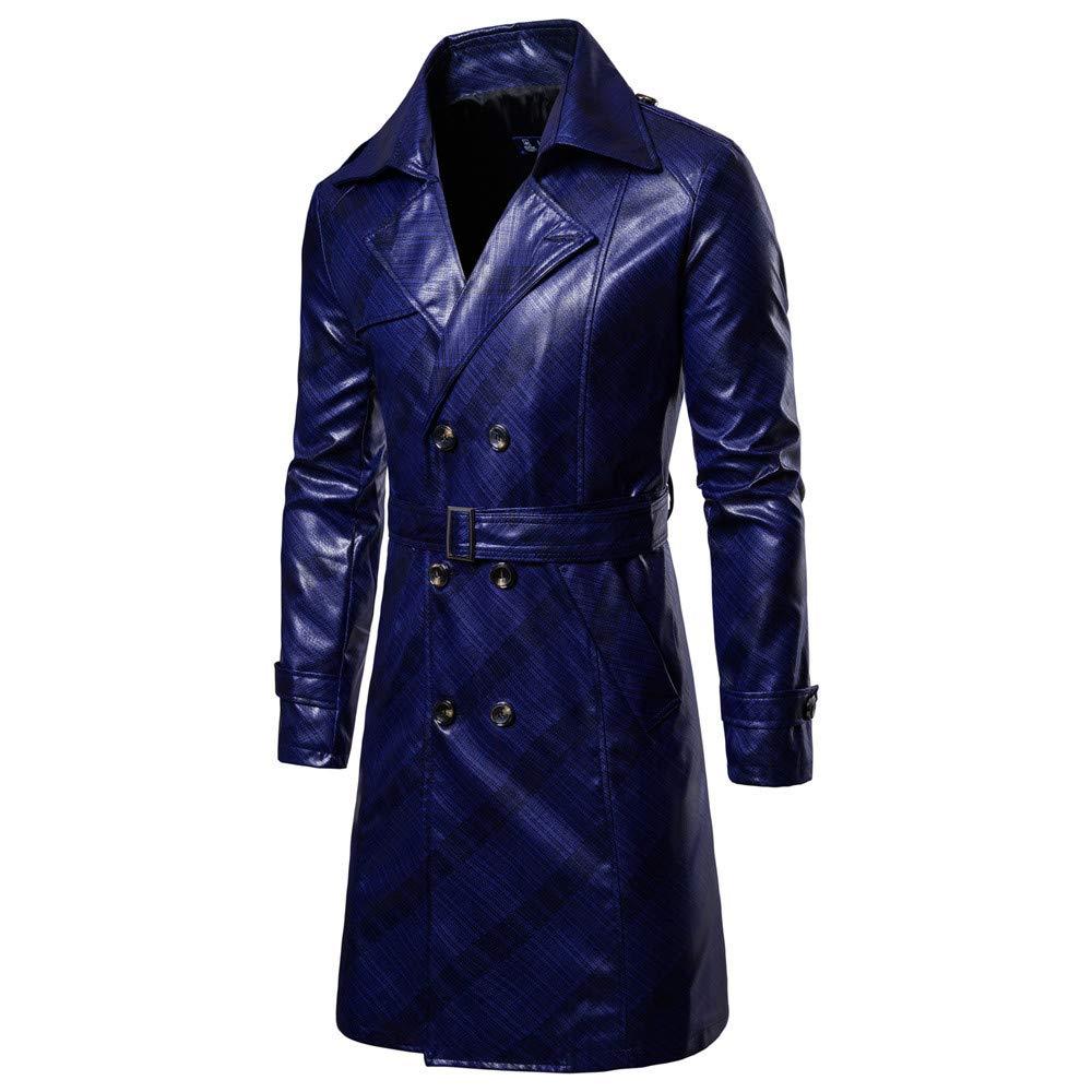 Homme Perfecto Long Trench Coat Classique,Overdose Soldes Hiver Veste Noir en Cuir Casual Outwear