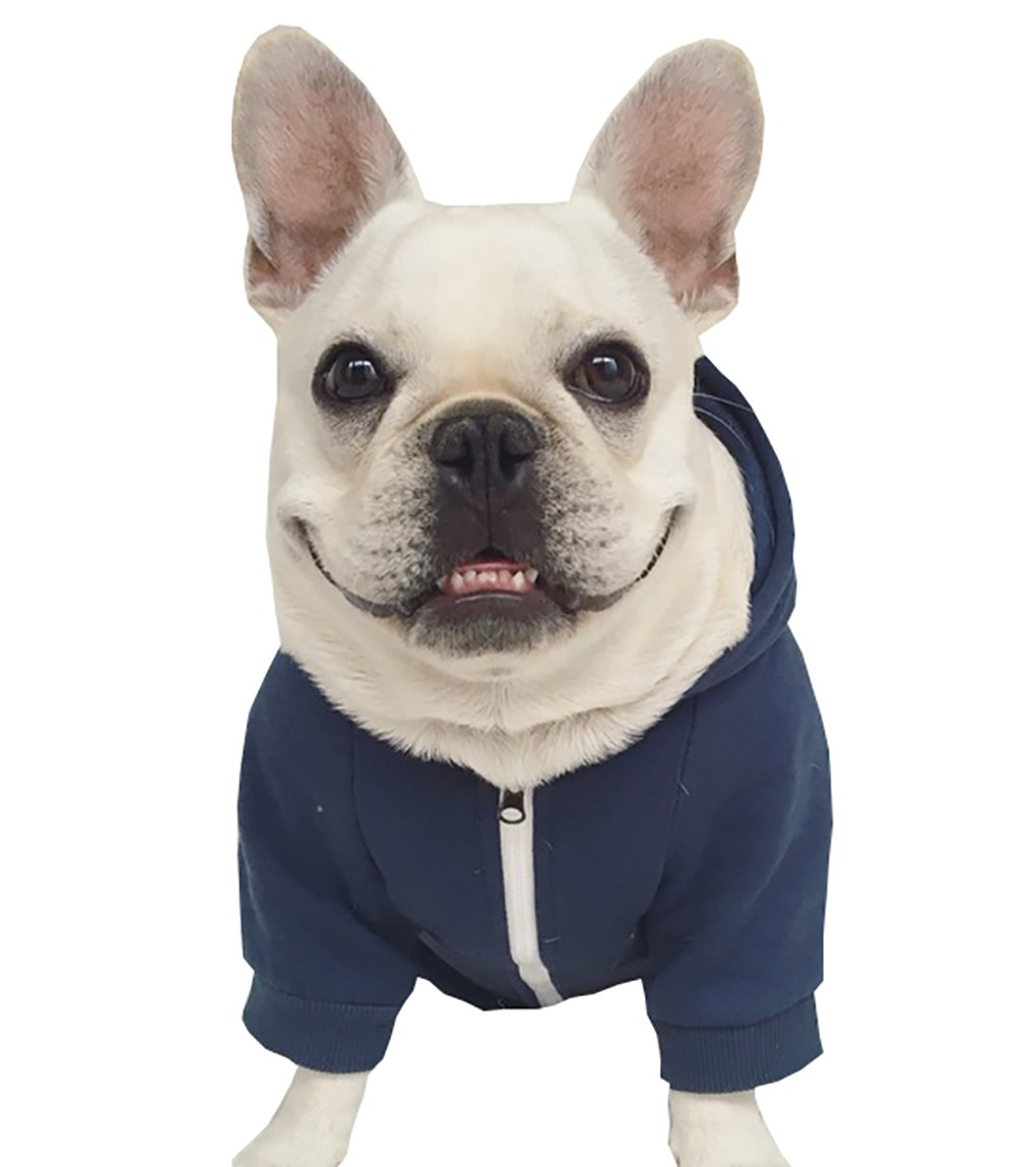 Moolecole Zip-up Hoodie Pet Costume Dog Hoodies Clothes Outfit Funny Pet Hooded Apperal For French Bulldog And Pug Dark Blue L