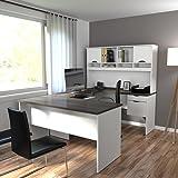 Bestar Innova U-Desk with Hutch in White and Antigua