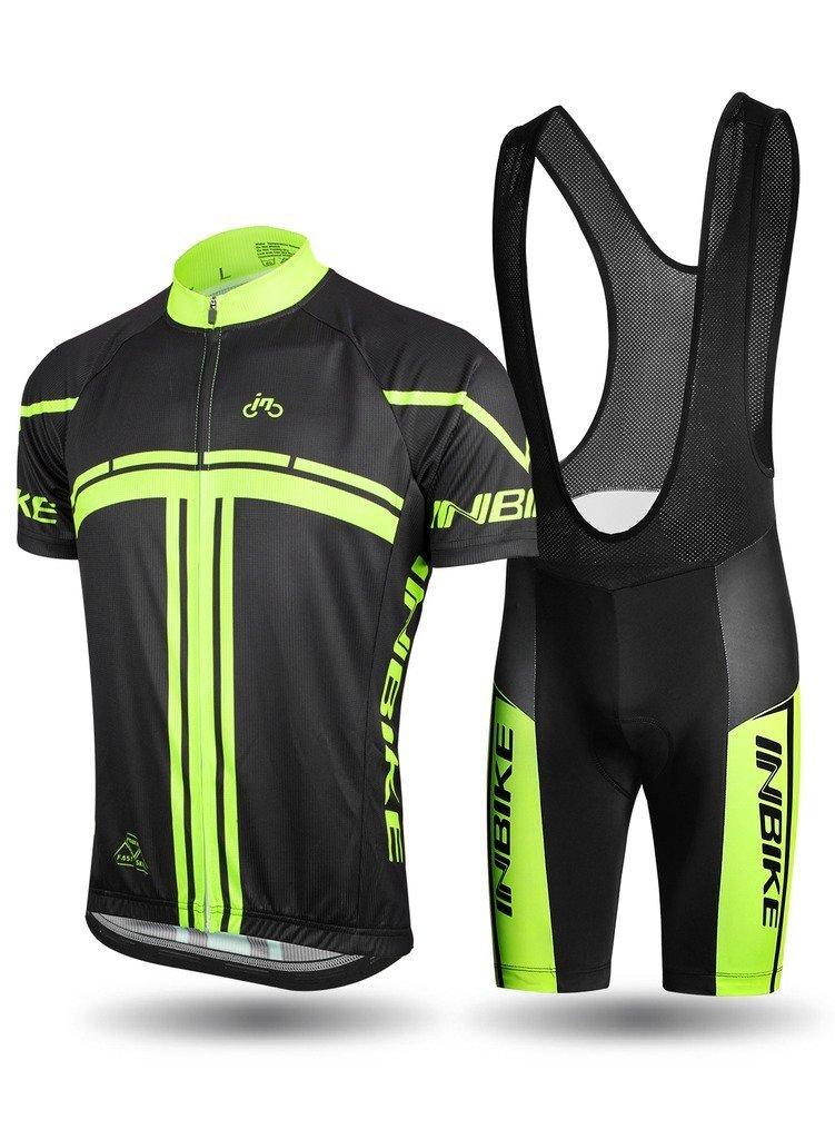 INBIKE メンズ サイクリングジャージセット 半袖 フルジップ 吸湿発散性 通気性 速乾性 バイクシャツ + 3Dパッド入りショーツ   B07D7V6GG9