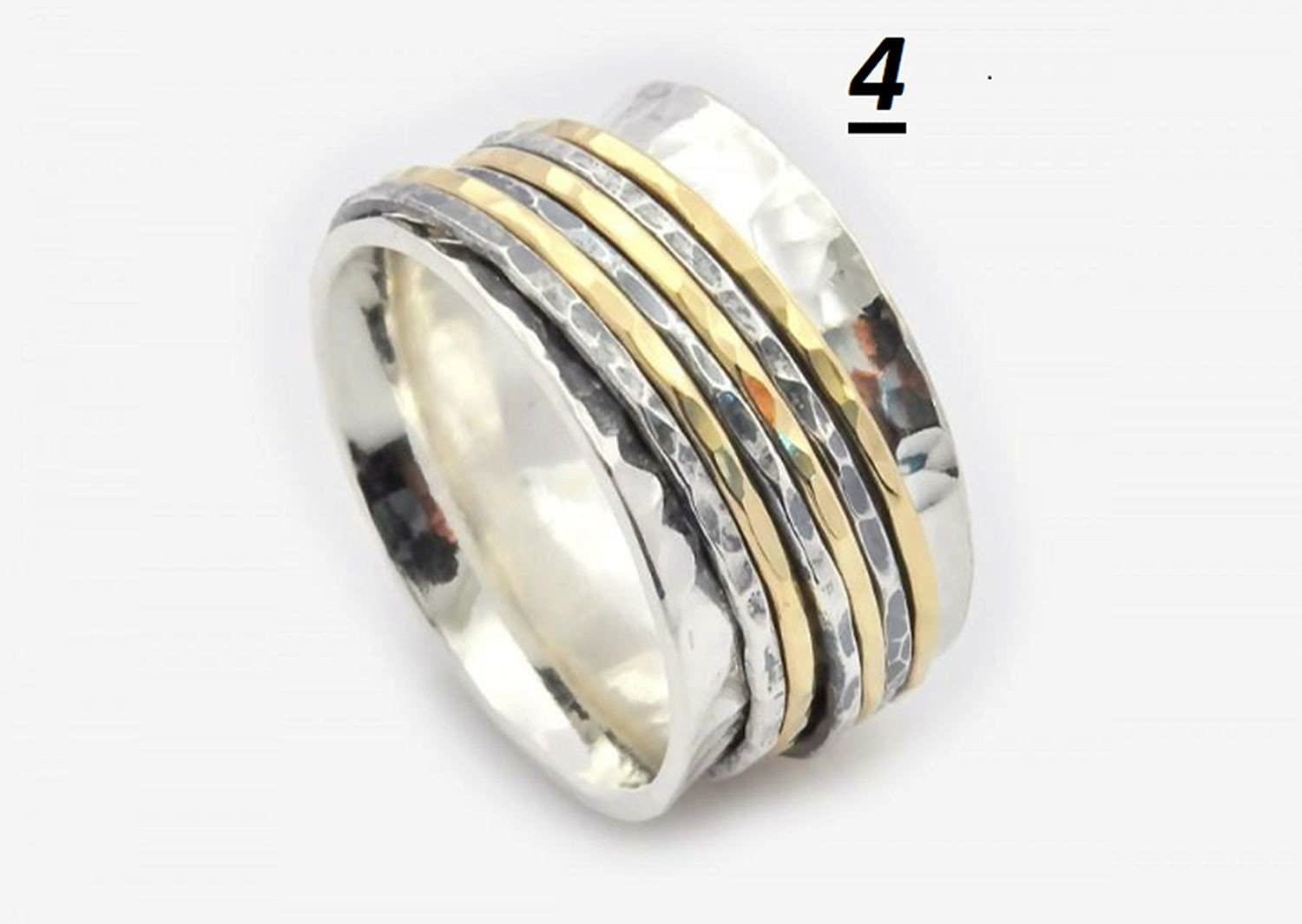JewelsExporter Spinner Ring Narrow Silver Brass Ring with Detailing Size 10US Narrow Spinner Ring Fancy Spinning Ring