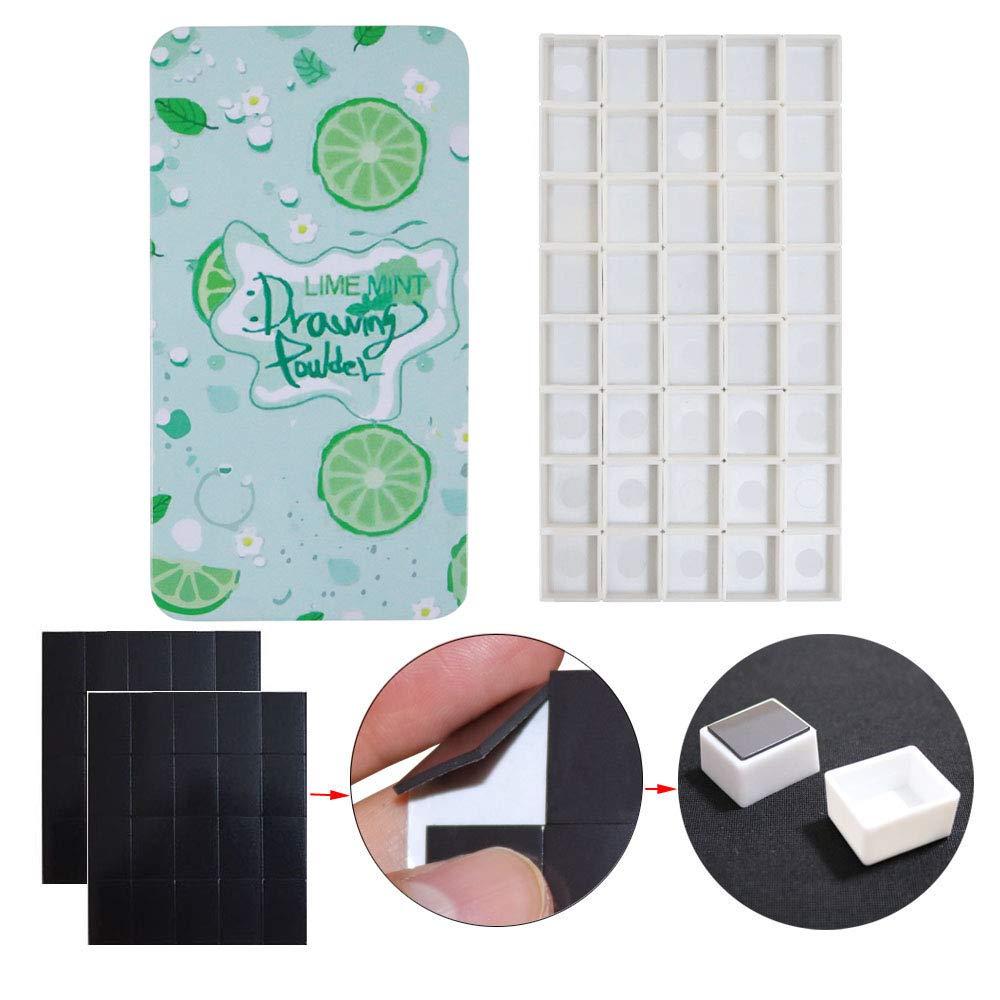 FCLUB Watercolor Tins Palette Paint Case with 40Pcs Empty Half Pans and 50pcs Magnetic Squares DIY Your Travel Watercolor Kit