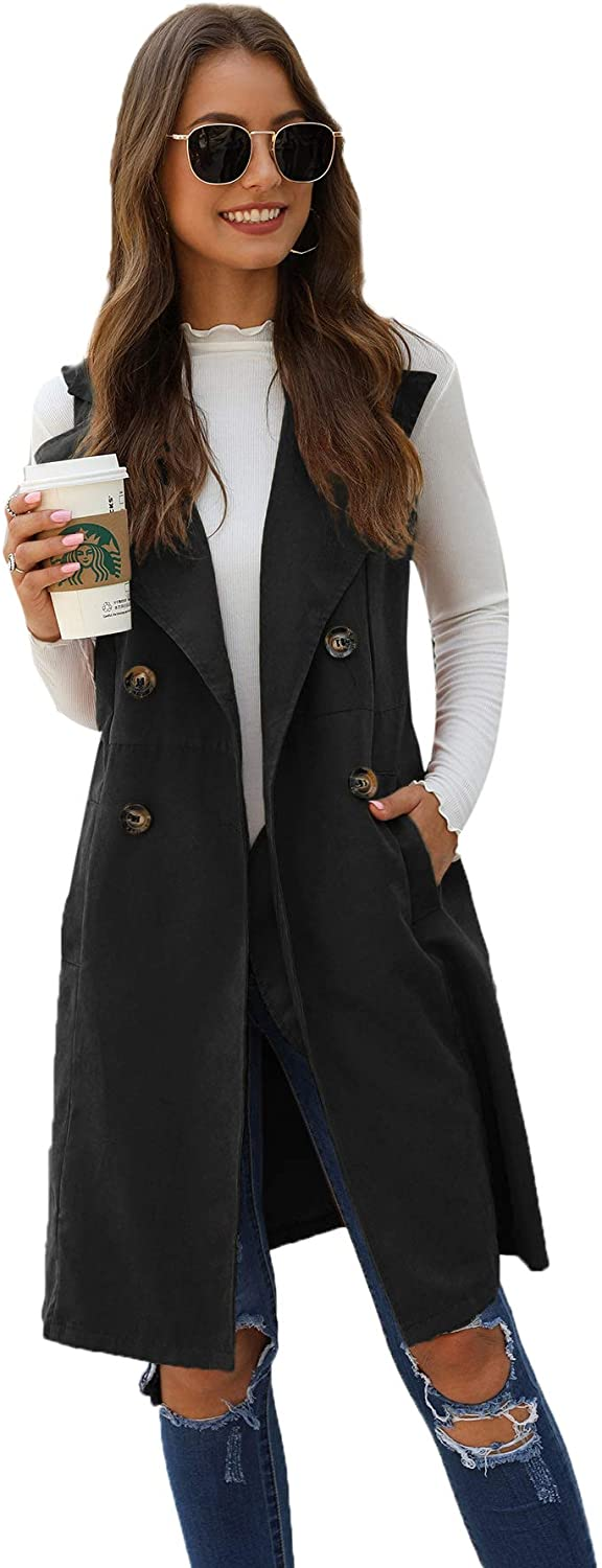 SheIn Womens Double Breasted Long Vest Jacket Casual Sleeveless Pocket Outerwear Longline