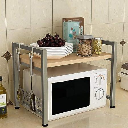Cylficl almacenaje de la Cocina Microondas Horno Estante Suministros de Cocina Estante de Almacenamiento multifunción de Acero Inoxidable para el hogar (Color : Gold, Size : Double Layer): Amazon.es: Hogar