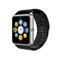 Reloj Inteligente, CulturesIn GT08 Pulsera con Pantalla Táctil Bluetooth con Cámara/Ranura para Tarjeta SIM/Análisis de Podómetro para Android (Funciones Completas) y para IOS (Funciones Parciales) (sliver)