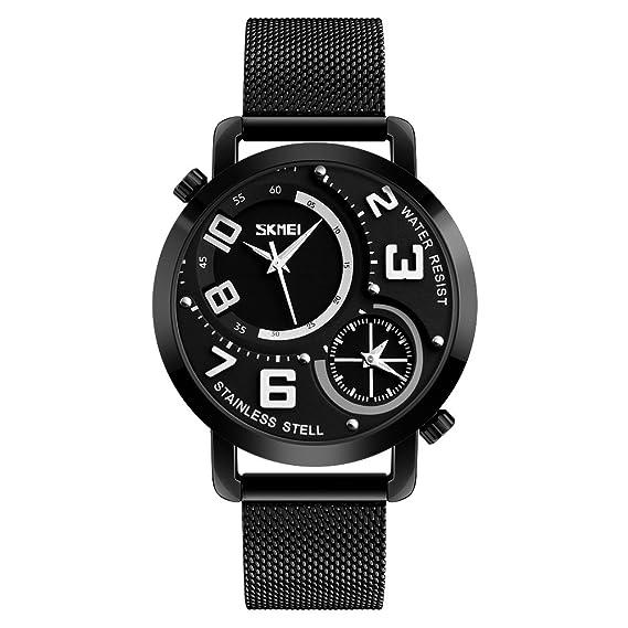 Los hombres reloj de doble zona horaria cuarzo relojes de pulsera para hombre relojes primera marca lujo Casual Negocios acero inoxidable color negro gdfb ...