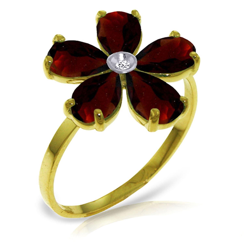 ALARRI 2.22 Carat 14K Solid Gold Citizen Of Love Garnet Diamond Ring With Ring Size 8