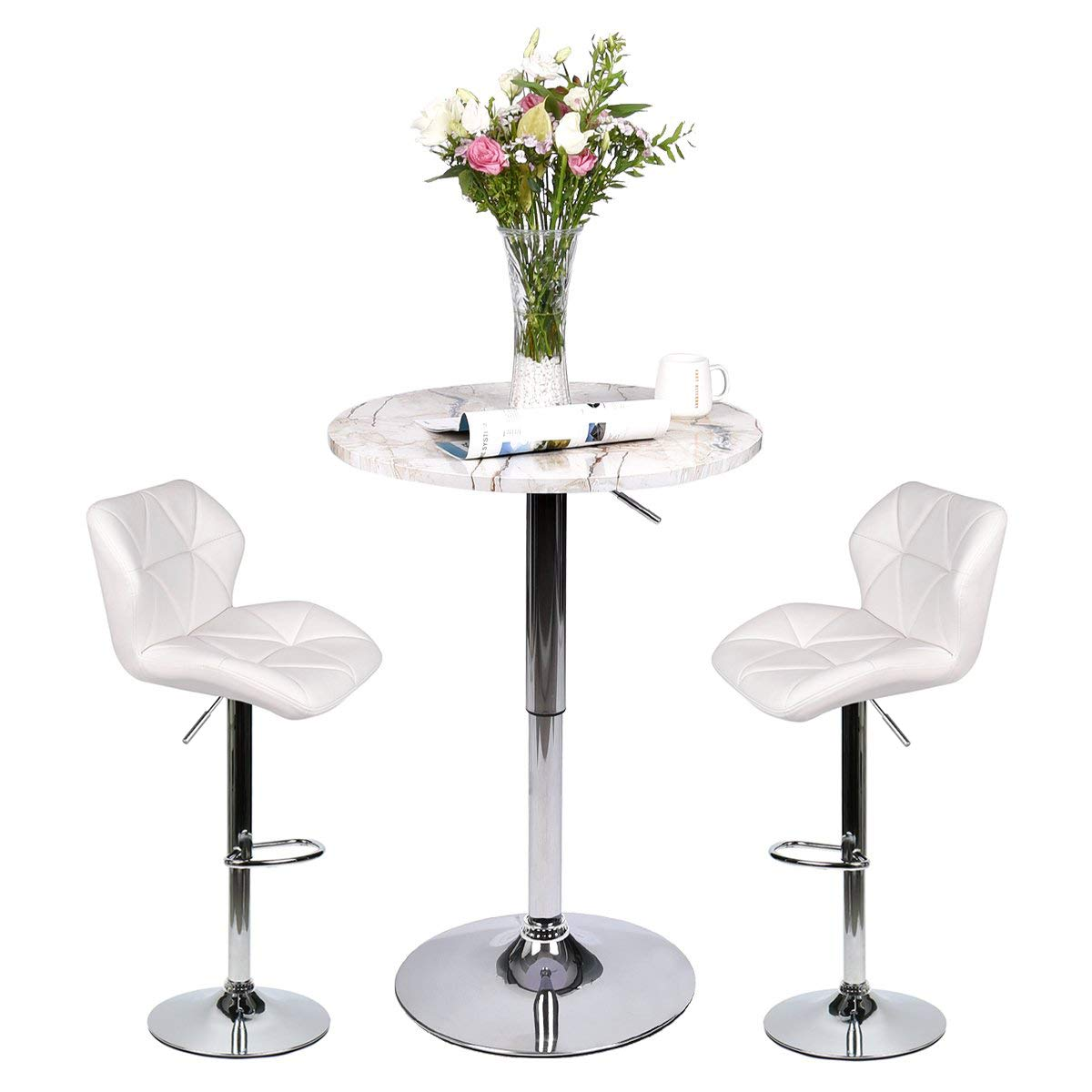 YOURLITE Pub Table Set 3 Piece 24 inch White Wood Round Table with 2 Leatherette Chairs Height Adjustable White Barstools and Marble Stripe Pub Table by YOURLITE