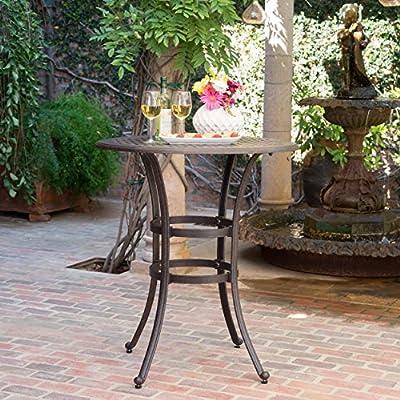 Calandra Outdoor 37 Inch Bronze Cast Aluminum Round Bar Table