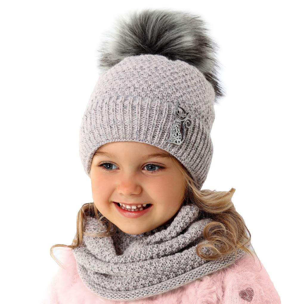 Jungen Baby Wintermütze Set Schal+Mütze Kindermütze Bommelmütze Winterset AJS