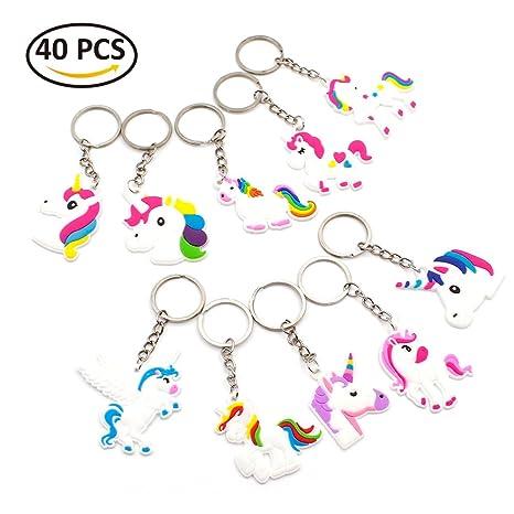 Amazon.com: 40 piezas llavero de unicornio para niñas de ...
